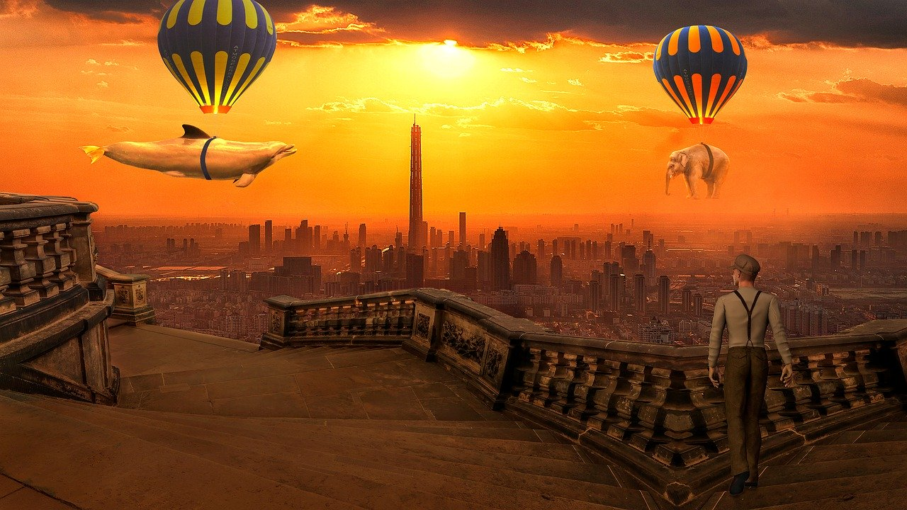 balloon hot air, animal, fantasy